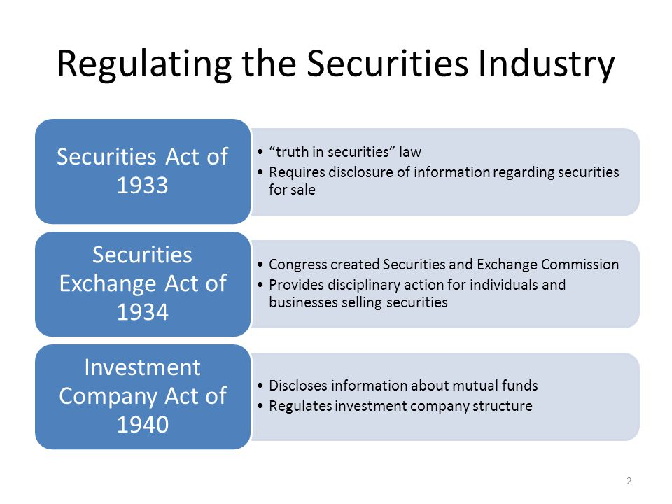 Regulating the Securities Industry truth in securities law Requires disclosure of information regarding securities for sale Securities Act of 1933 Congress created Securities and Exchange Commission Provides disciplinary action for individuals and businesses selling securities Securities Exchange Act of 1934 Discloses information about mutual funds Regulates investment company structure Investment Company Act of 1940 2
