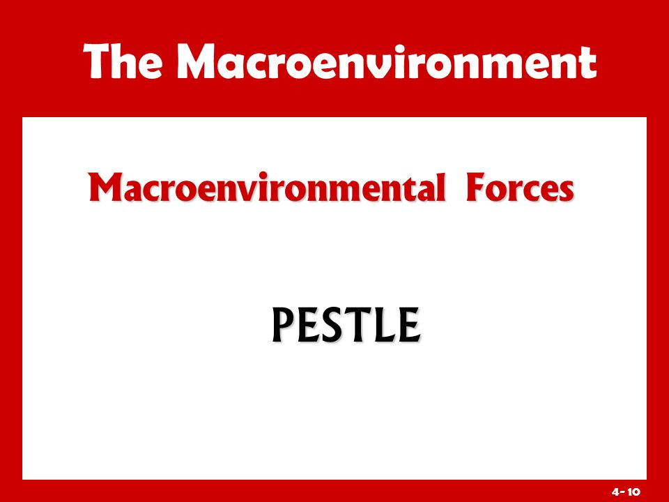 4- 10 Macroenvironmental Forces The Macroenvironment PESTLE
