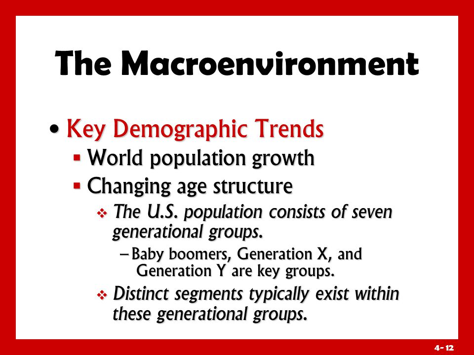4- 12 The Macroenvironment Key Demographic Trends Key Demographic Trends  World population growth  Changing age structure  The U.S.