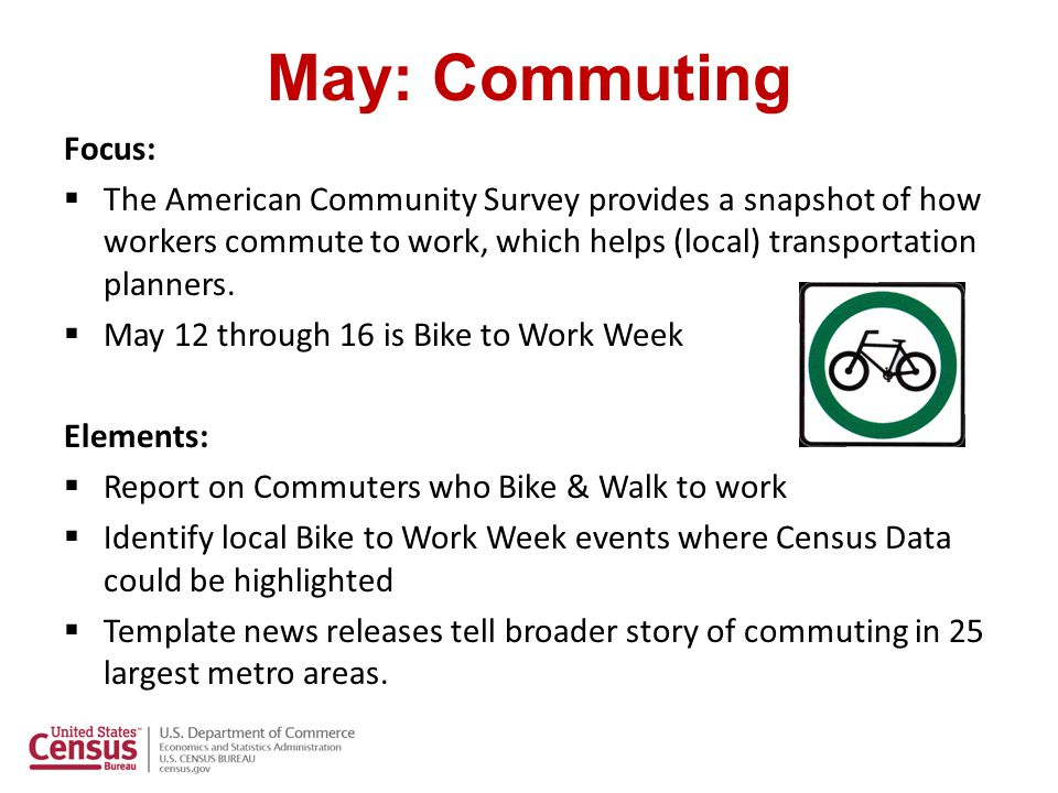May: Commuting Focus:  The American Community Survey provides a snapshot of how workers commute to work, which helps (local) transportation planners.
