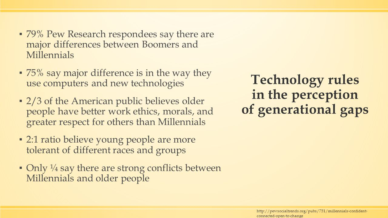 Technology rules in the perception of generational gaps ▪ 79% Pew Research respondees say there are major differences between Boomers and Millennials ▪ 75% say major difference is in the way they use computers and new technologies ▪ 2/3 of the American public believes older people have better work ethics, morals, and greater respect for others than Millennials ▪ 2:1 ratio believe young people are more tolerant of different races and groups ▪ Only ¼ say there are strong conflicts between Millennials and older people http://pewsocialtrends.org/pubs/751/millennials-confident- connected-open-to-change