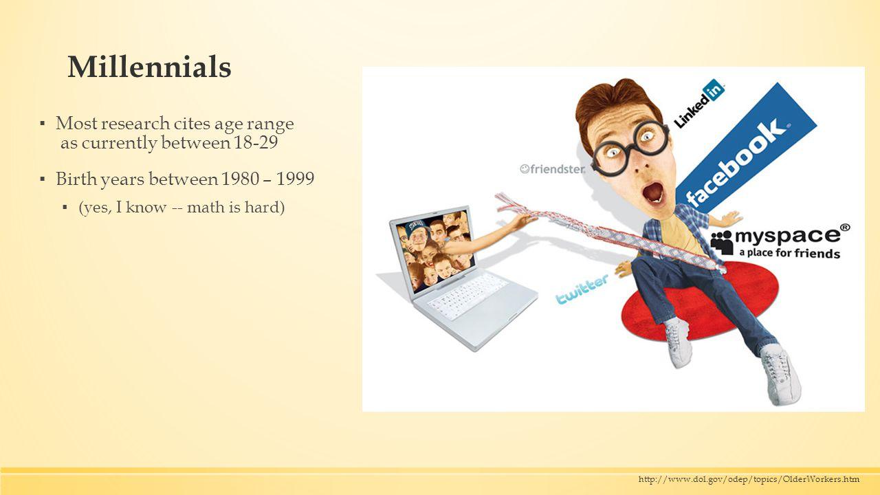 http://www.pewresearch.org/millennials/ Older worker span