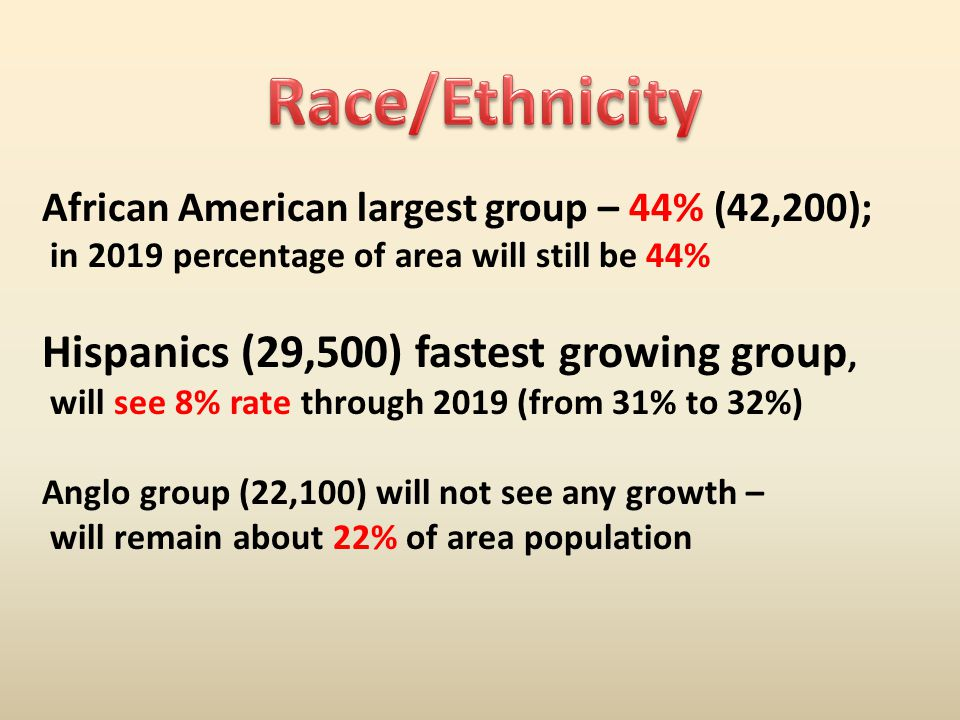 African American largest group – 44% (42,200); in 2019 percentage of area will still be 44% Hispanics (29,500) fastest growing group, will see 8% rate