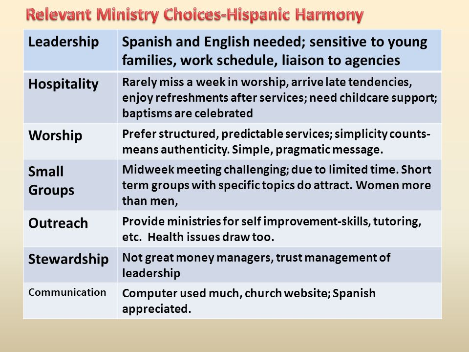 LeadershipSpanish and English needed; sensitive to young families, work schedule, liaison to agencies Hospitality Rarely miss a week in worship, arrive late tendencies, enjoy refreshments after services; need childcare support; baptisms are celebrated Worship Prefer structured, predictable services; simplicity counts- means authenticity.