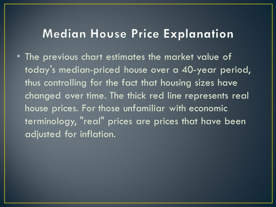 The previous chart estimates the market value of today s median-priced house over a 40-year period, thus controlling for the fact that housing sizes have changed over time.