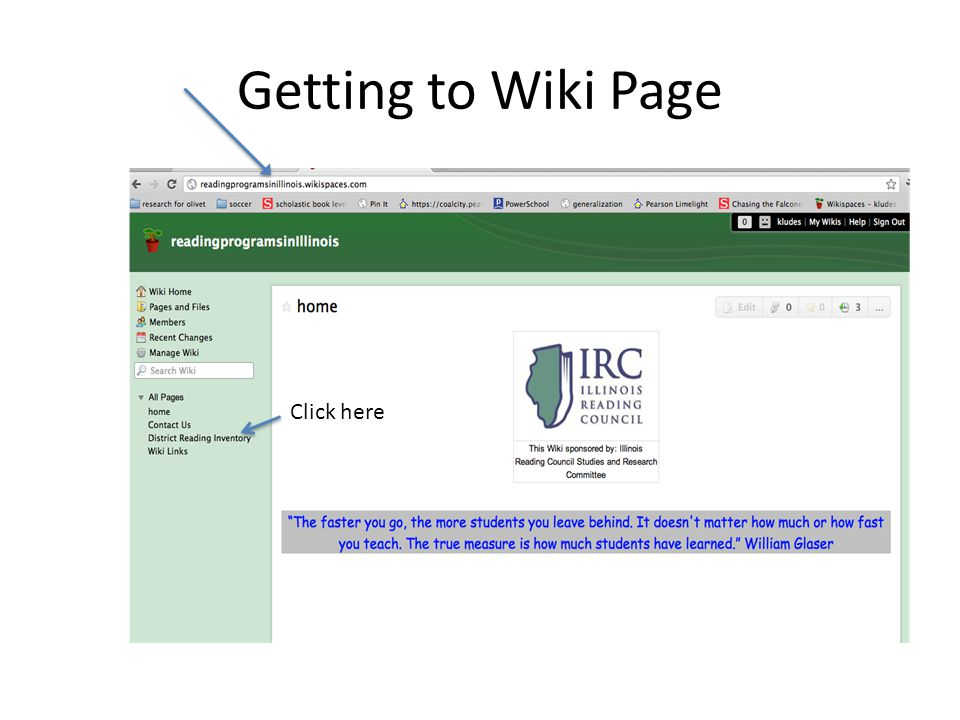 Getting to Wiki Page Click here