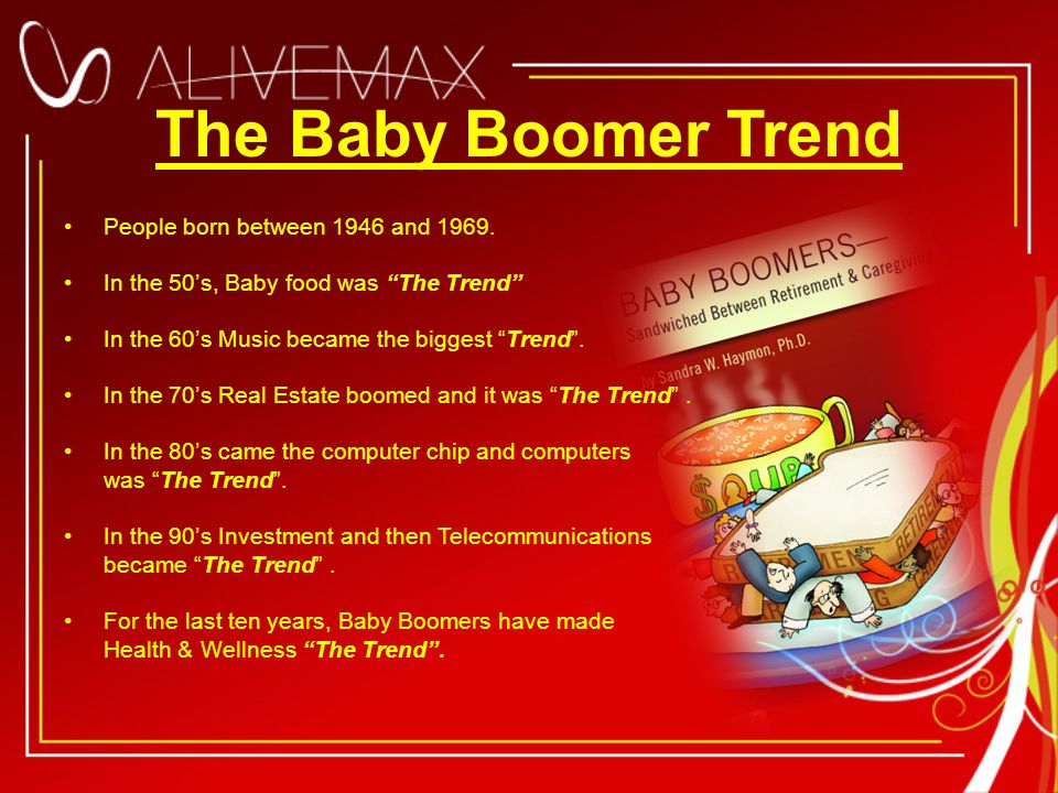 The Baby Boomer Trend People born between 1946 and 1969.