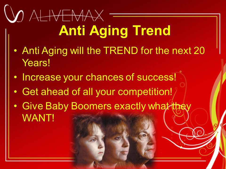 Anti Aging Trend Anti Aging will the TREND for the next 20 Years.