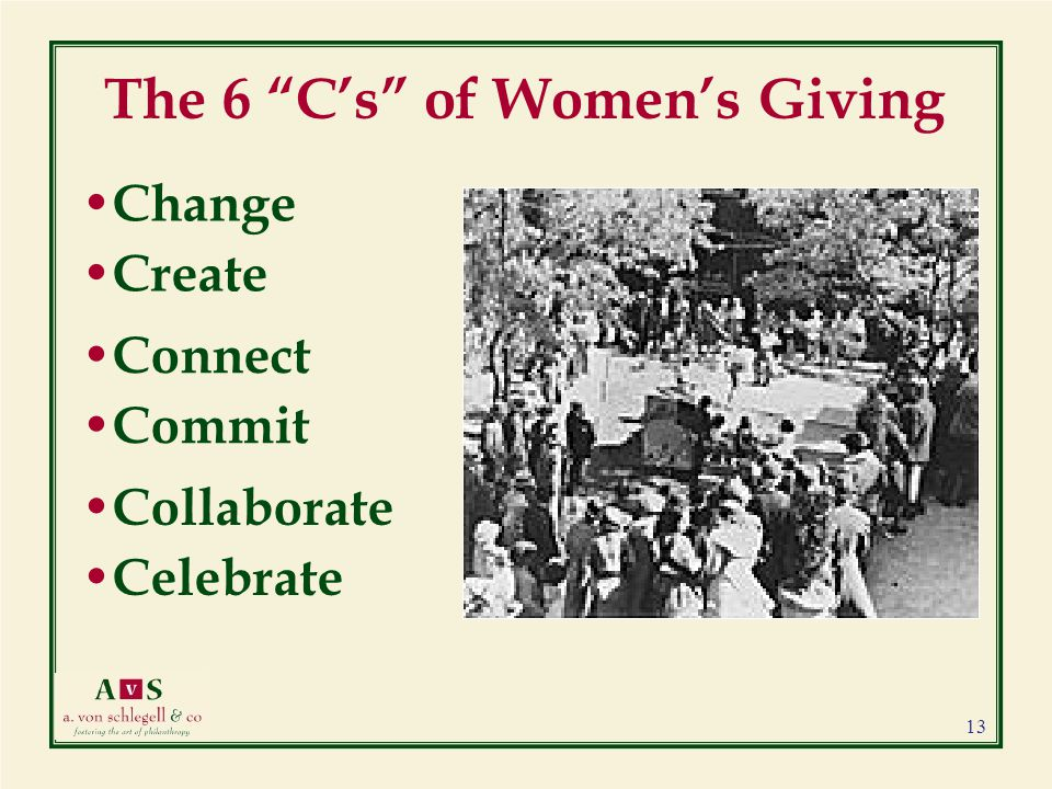 The 6 C's of Women's Giving Change Create Connect Commit Collaborate Celebrate 13