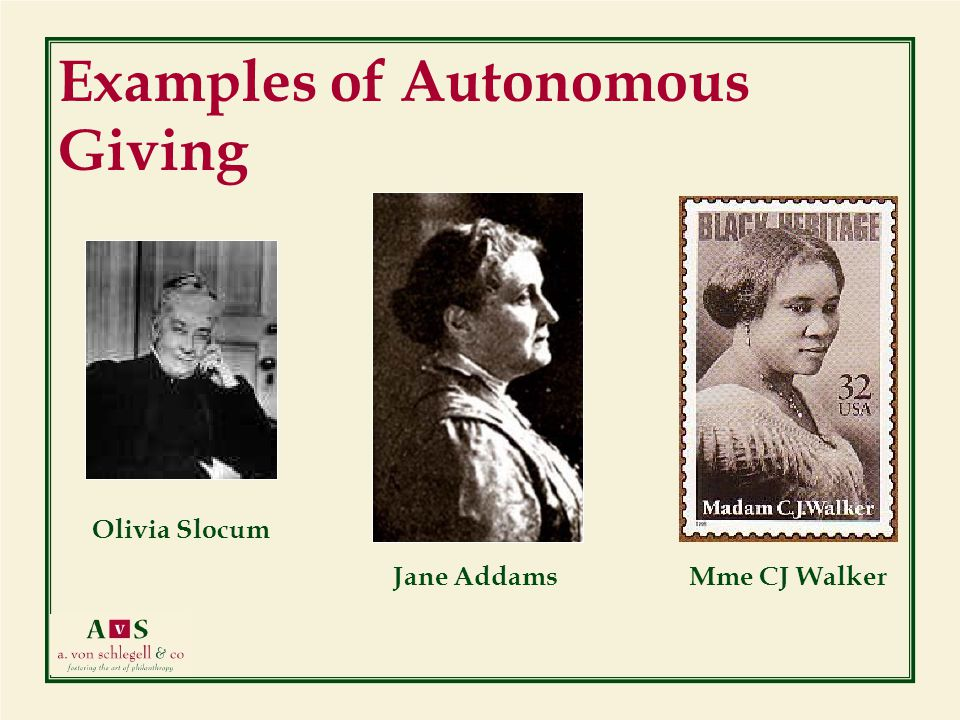 Mme CJ WalkerJane Addams Examples of Autonomous Giving Olivia Slocum 7