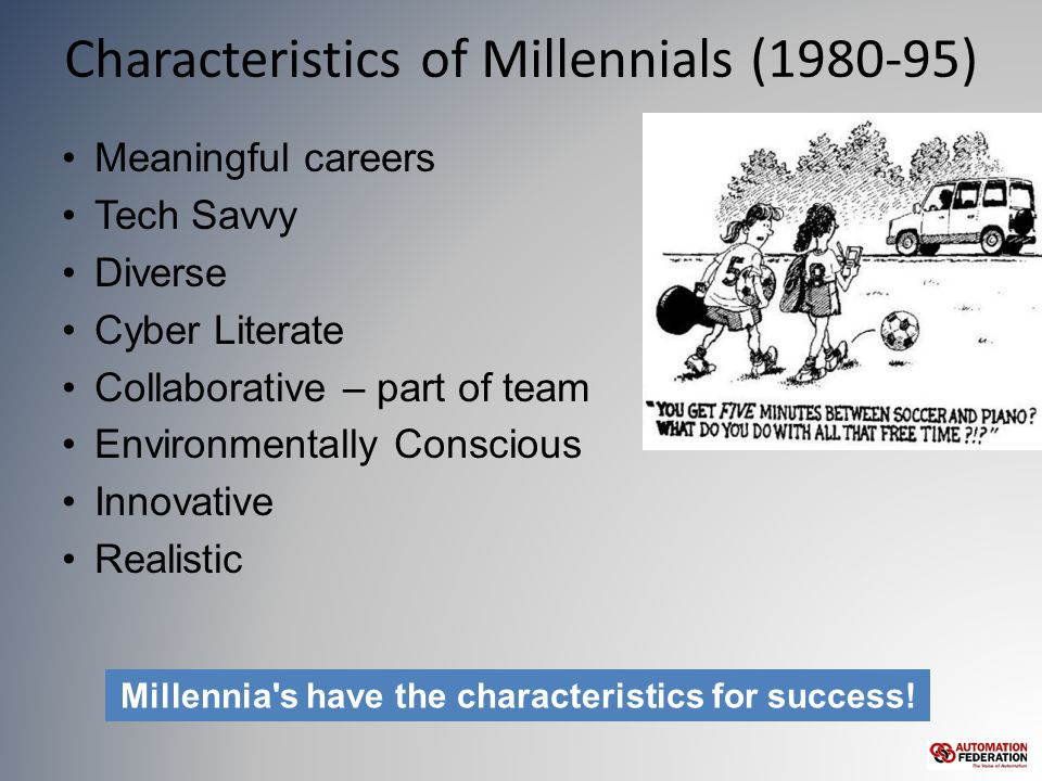Characteristics of Millennials (1980-95) Meaningful careers Tech Savvy Diverse Cyber Literate Collaborative – part of team Environmentally Conscious Innovative Realistic Millennia s have the characteristics for success!
