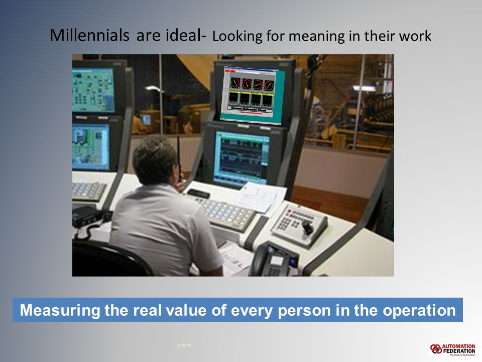 Millennials are ideal- Looking for meaning in their work Slide 29 Measuring the real value of every person in the operation