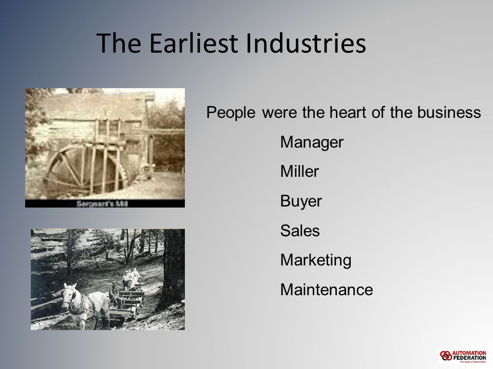 The Earliest Industries People were the heart of the business Manager Miller Buyer Sales Marketing Maintenance