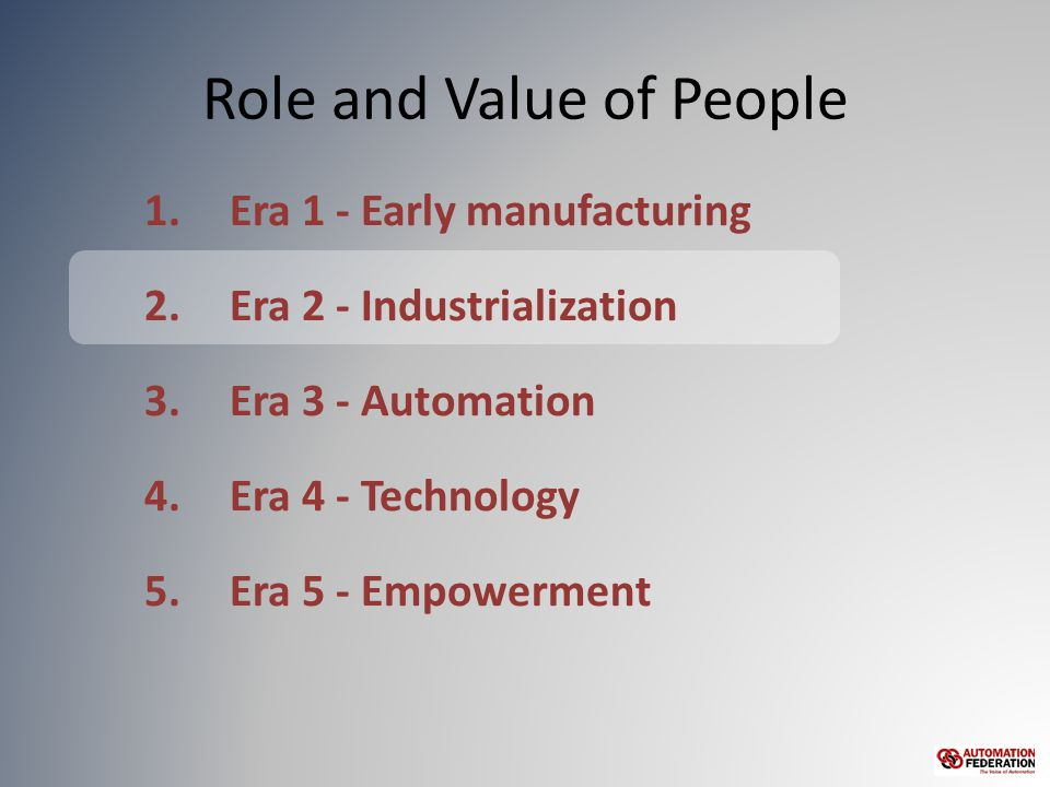 Role and Value of People 1.Era 1 - Early manufacturing 2.Era 2 - Industrialization 3.Era 3 - Automation 4.Era 4 - Technology 5.Era 5 - Empowerment