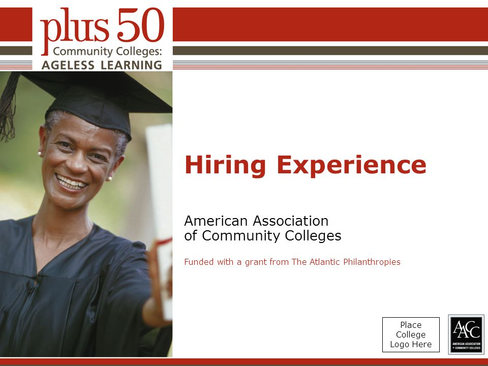 Hiring Experience American Association of Community Colleges Funded with a grant from The Atlantic Philanthropies Place College Logo Here