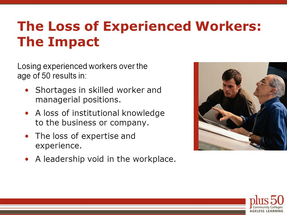 The Loss of Experienced Workers: The Impact Losing experienced workers over the age of 50 results in: Shortages in skilled worker and managerial posit