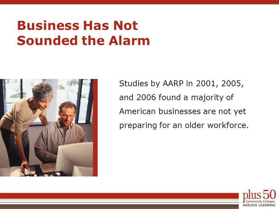 Business Has Not Sounded the Alarm Studies by AARP in 2001, 2005, and 2006 found a majority of American businesses are not yet preparing for an older