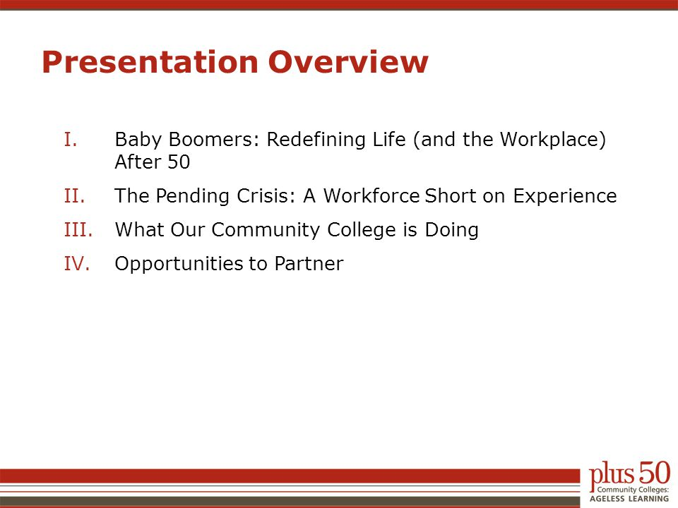 I.Baby Boomers: Redefining Life (and the Workplace) After 50 II.The Pending Crisis: A Workforce Short on Experience III.What Our Community College is