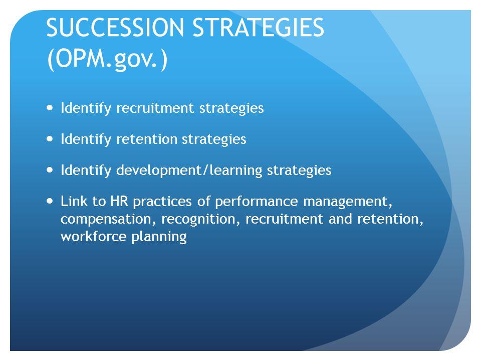 SUCCESSION STRATEGIES (OPM.gov.) Identify recruitment strategies Identify retention strategies Identify development/learning strategies Link to HR pra