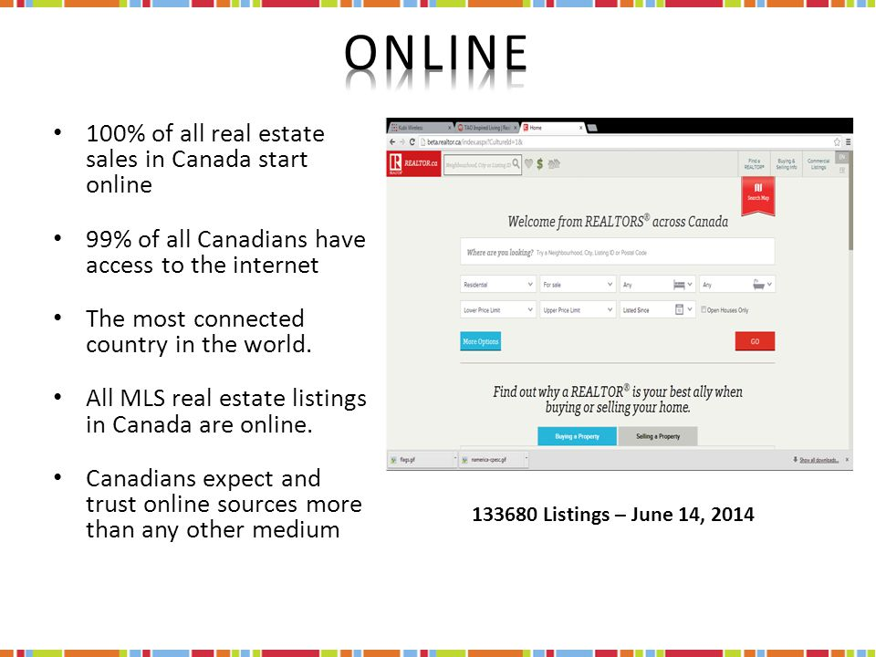 100% of all real estate sales in Canada start online 99% of all Canadians have access to the internet The most connected country in the world.
