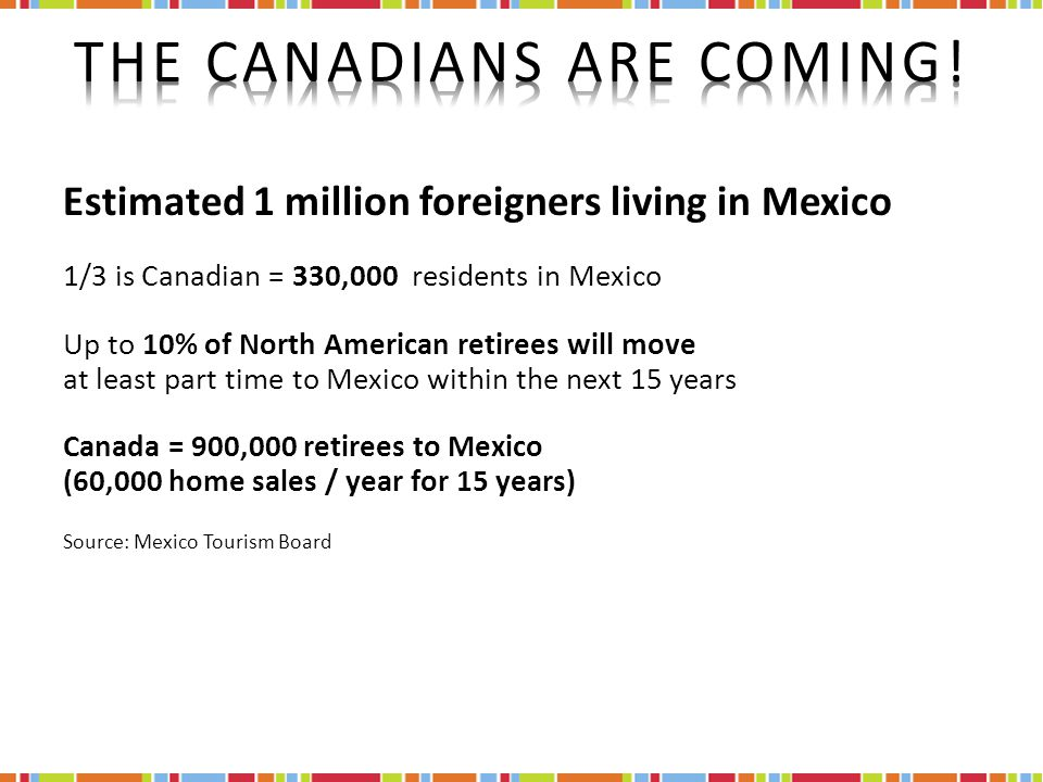 Estimated 1 million foreigners living in Mexico 1/3 is Canadian = 330,000 residents in Mexico Up to 10% of North American retirees will move at least part time to Mexico within the next 15 years Canada = 900,000 retirees to Mexico (60,000 home sales / year for 15 years) Source: Mexico Tourism Board
