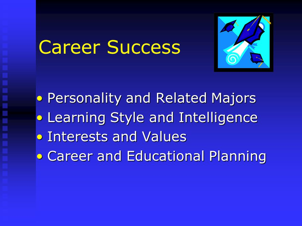 Career Success Personality and Related MajorsPersonality and Related Majors Learning Style and IntelligenceLearning Style and Intelligence Interests and ValuesInterests and Values Career and Educational PlanningCareer and Educational Planning