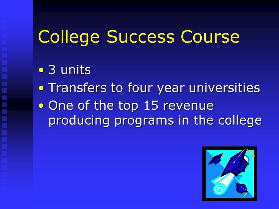 College Success Course 3 units3 units Transfers to four year universitiesTransfers to four year universities One of the top 15 revenue producing programs in the collegeOne of the top 15 revenue producing programs in the college