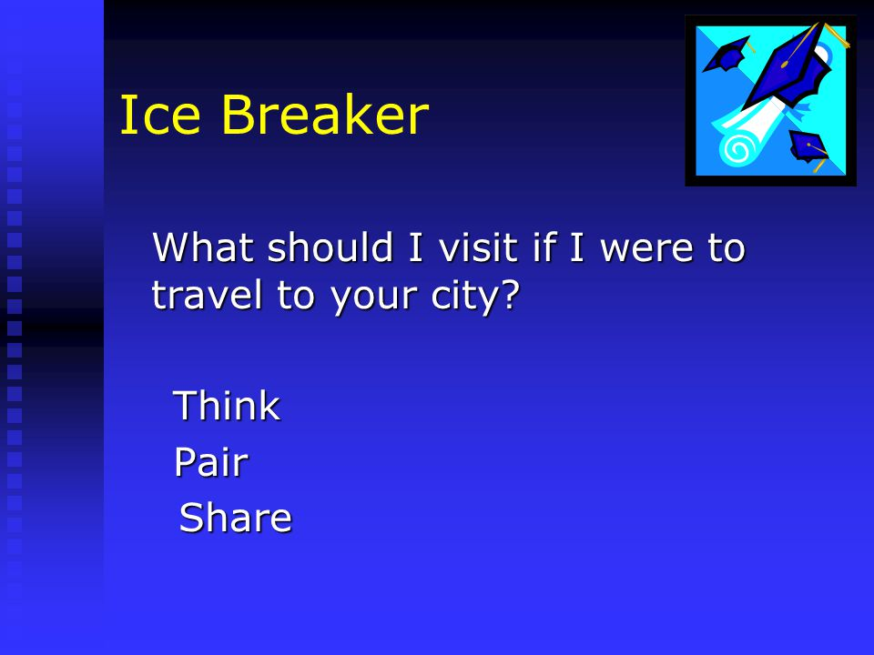 Ice Breaker What should I visit if I were to travel to your city Think Think Pair Pair Share Share