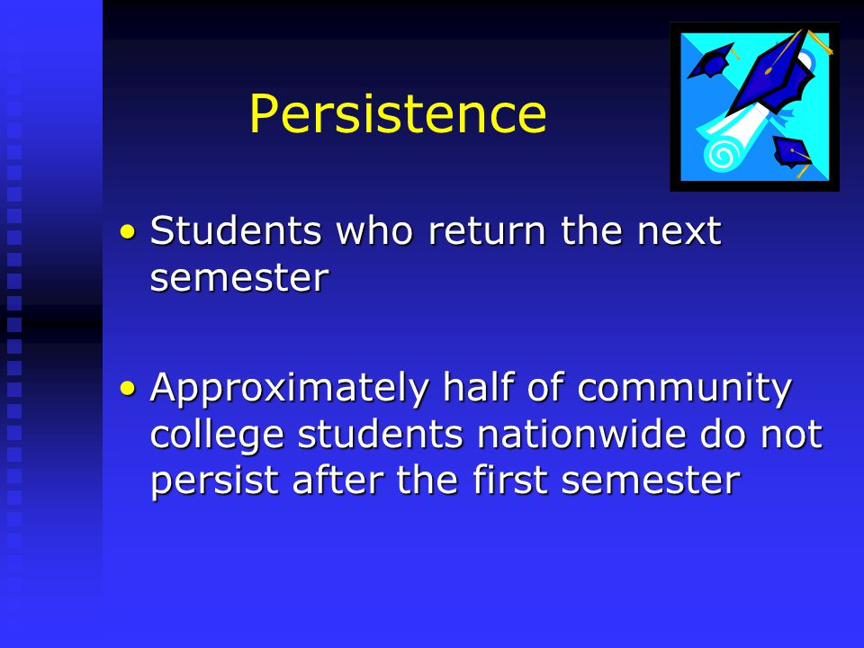 Persistence Students who return the next semesterStudents who return the next semester Approximately half of community college students nationwide do not persist after the first semesterApproximately half of community college students nationwide do not persist after the first semester