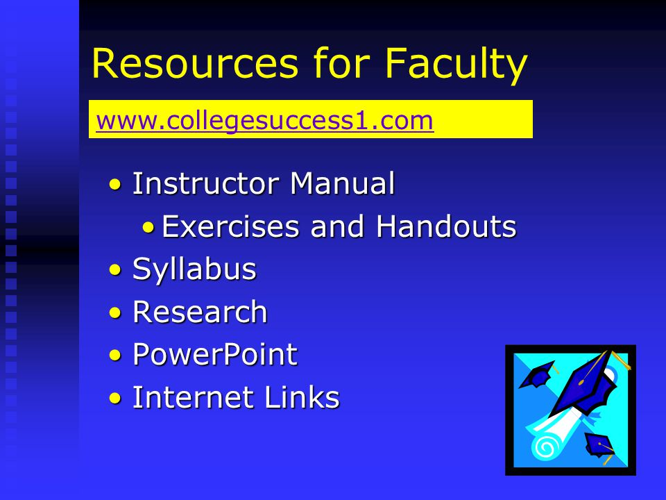 Resources for Faculty Instructor ManualInstructor Manual Exercises and HandoutsExercises and Handouts SyllabusSyllabus ResearchResearch PowerPointPowerPoint Internet LinksInternet Links www.collegesuccess1.com