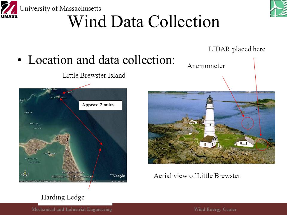 Mechanical and Industrial EngineeringWind Energy Center University of Massachusetts Wind Data Collection Location and data collection: Approx. 2 miles