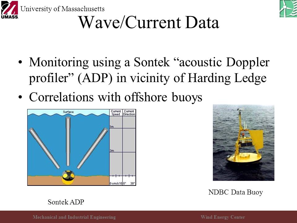 """Mechanical and Industrial EngineeringWind Energy Center University of Massachusetts Wave/Current Data Monitoring using a Sontek """"acoustic Doppler prof"""