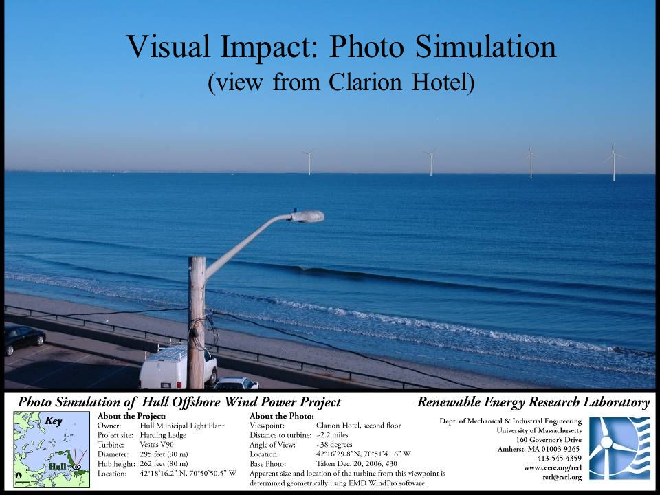 Mechanical and Industrial EngineeringWind Energy Center University of Massachusetts Visual Impact: Photo Simulation (view from Clarion Hotel)