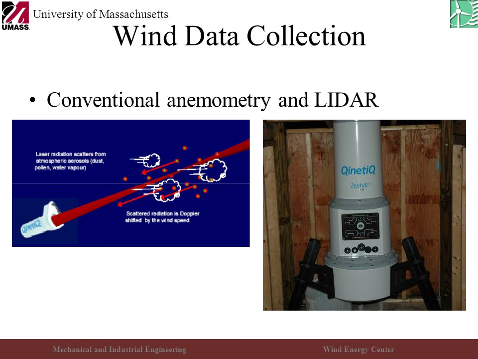 Mechanical and Industrial EngineeringWind Energy Center University of Massachusetts Wind Data Collection Conventional anemometry and LIDAR