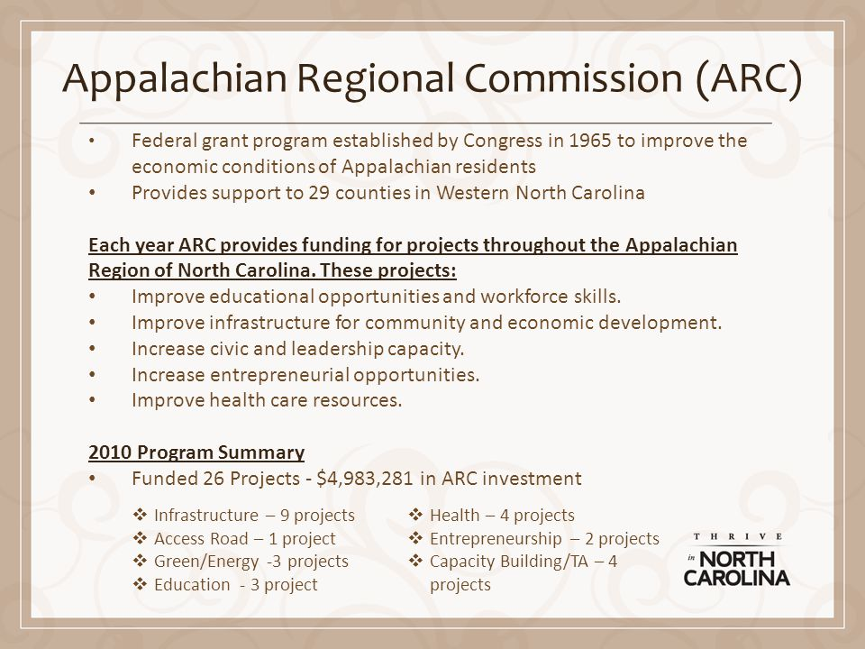 Appalachian Regional Commission (ARC) Federal grant program established by Congress in 1965 to improve the economic conditions of Appalachian residents Provides support to 29 counties in Western North Carolina Each year ARC provides funding for projects throughout the Appalachian Region of North Carolina.