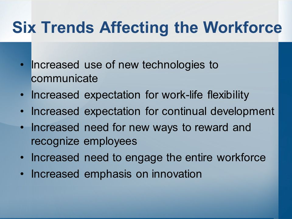 Six Trends Affecting the Workforce Increased use of new technologies to communicate Increased expectation for work-life flexibility Increased expectation for continual development Increased need for new ways to reward and recognize employees Increased need to engage the entire workforce Increased emphasis on innovation
