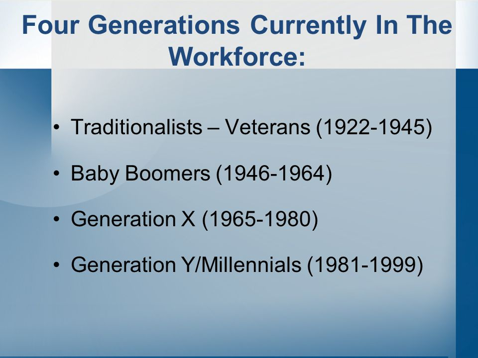 Four Generations Currently In The Workforce: Traditionalists – Veterans (1922-1945) Baby Boomers (1946-1964) Generation X (1965-1980) Generation Y/Millennials (1981-1999)