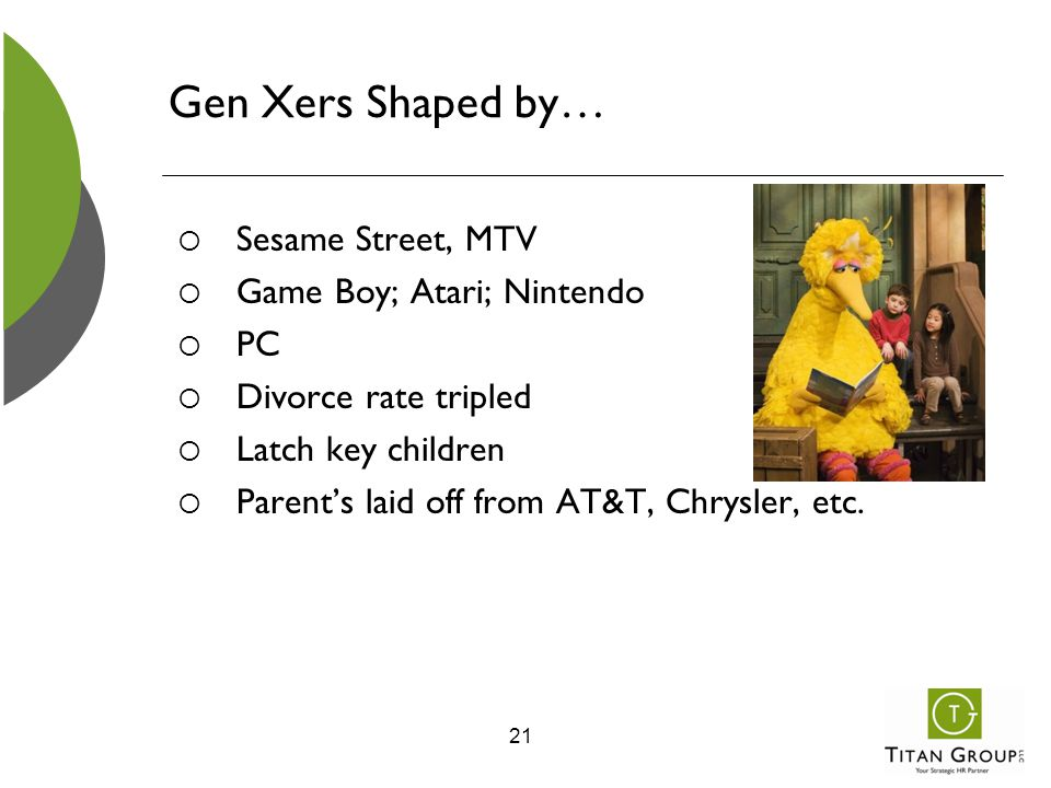 Gen Xers Shaped by…  Sesame Street, MTV  Game Boy; Atari; Nintendo  PC  Divorce rate tripled  Latch key children  Parent's laid off from AT&T, C