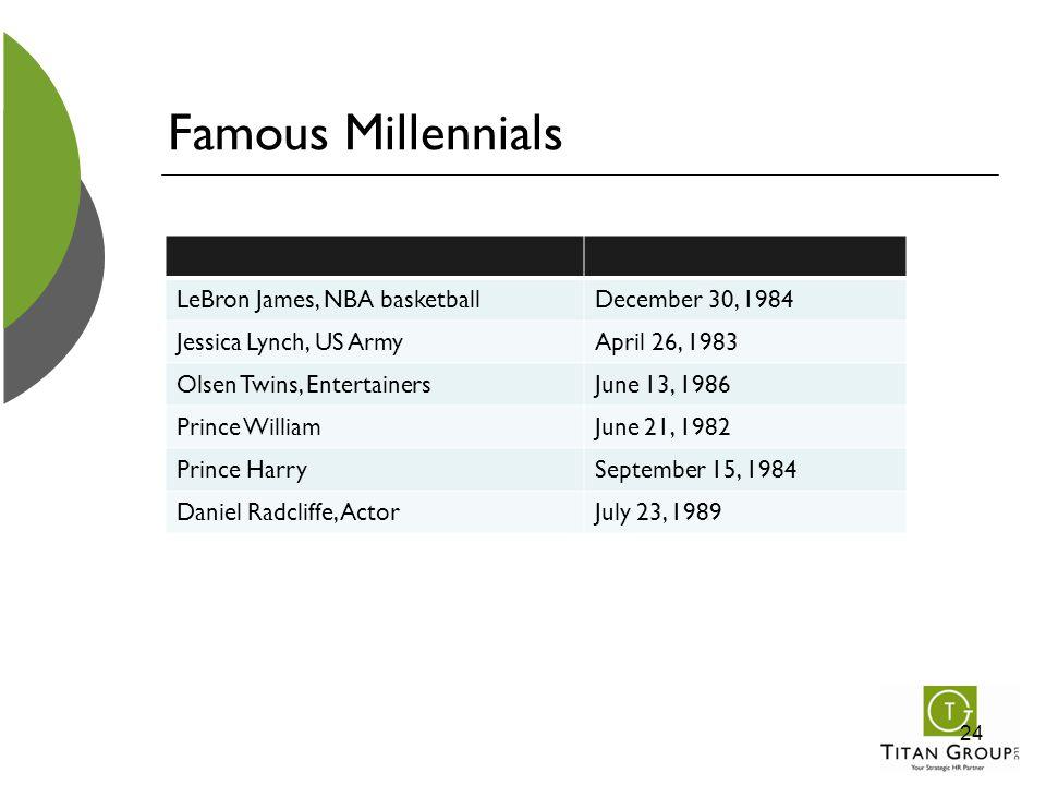 Famous Millennials LeBron James, NBA basketballDecember 30, 1984 Jessica Lynch, US ArmyApril 26, 1983 Olsen Twins, EntertainersJune 13, 1986 Prince Wi