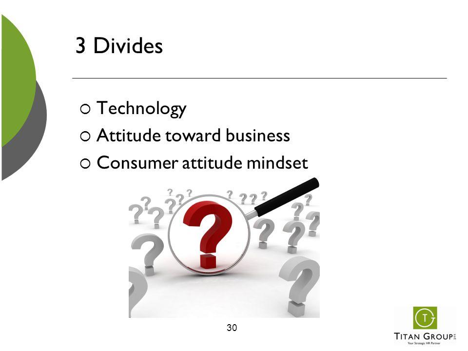 3 Divides  Technology  Attitude toward business  Consumer attitude mindset 30