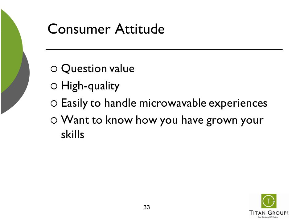 Consumer Attitude  Question value  High-quality  Easily to handle microwavable experiences  Want to know how you have grown your skills 33