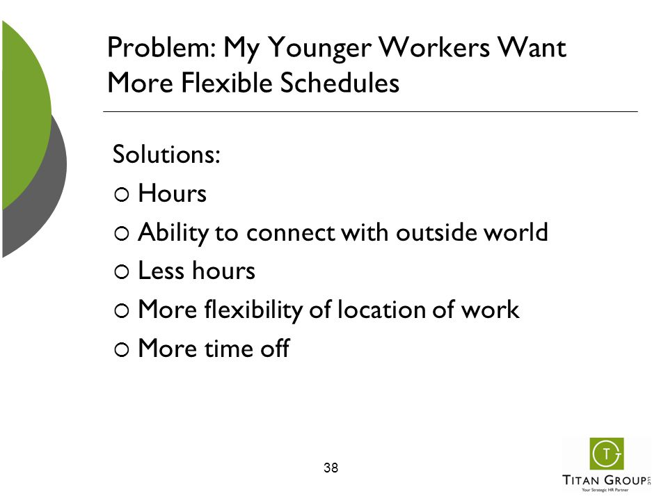 Problem: My Younger Workers Want More Flexible Schedules Solutions:  Hours  Ability to connect with outside world  Less hours  More flexibility of