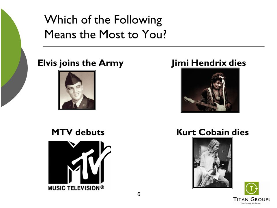 Which of the Following Means the Most to You? Elvis joins the Army 6 MTV debuts Jimi Hendrix dies Kurt Cobain dies