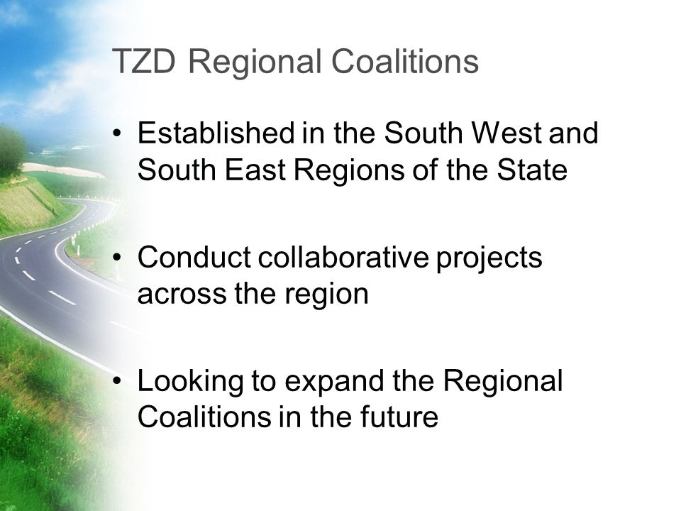 TZD Regional Coalitions Established in the South West and South East Regions of the State Conduct collaborative projects across the region Looking to expand the Regional Coalitions in the future