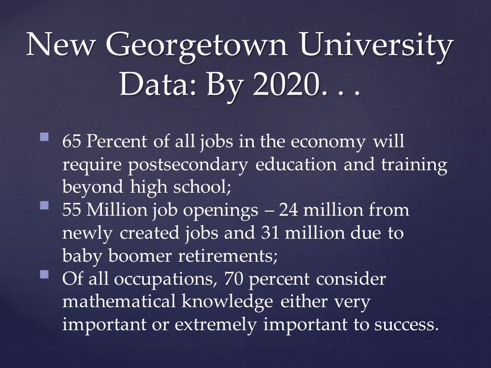 New Georgetown University Data: By 2020...