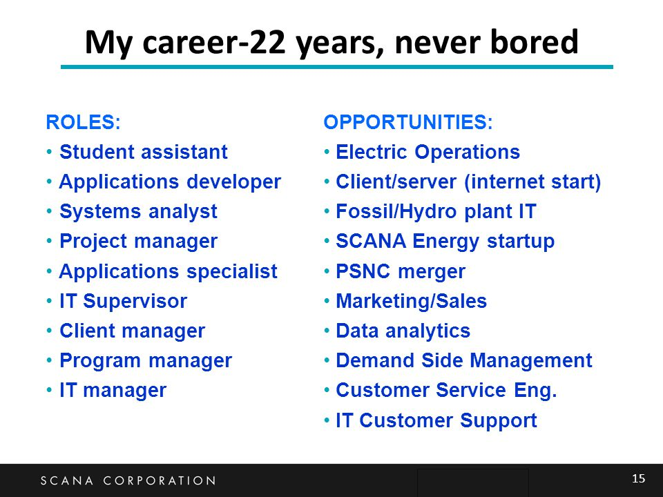 15 My career-22 years, never bored ROLES: Student assistant Applications developer Systems analyst Project manager Applications specialist IT Supervis