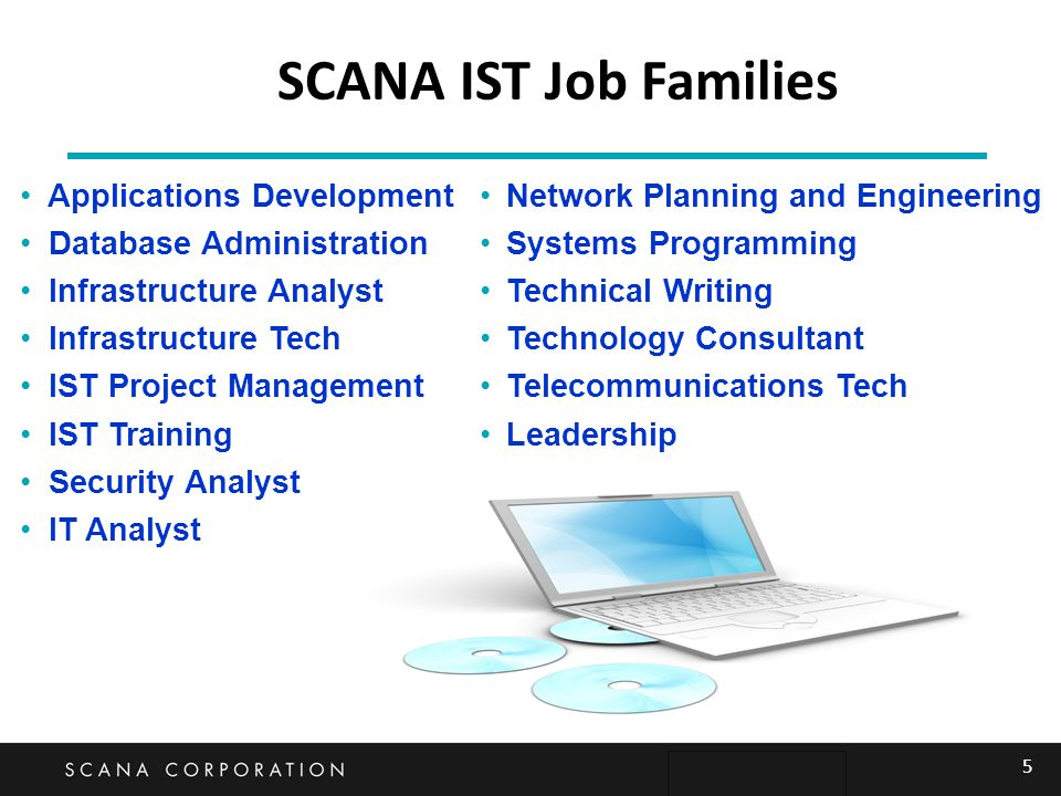 SCANA IST Job Families Applications Development Database Administration Infrastructure Analyst Infrastructure Tech IST Project Management IST Training