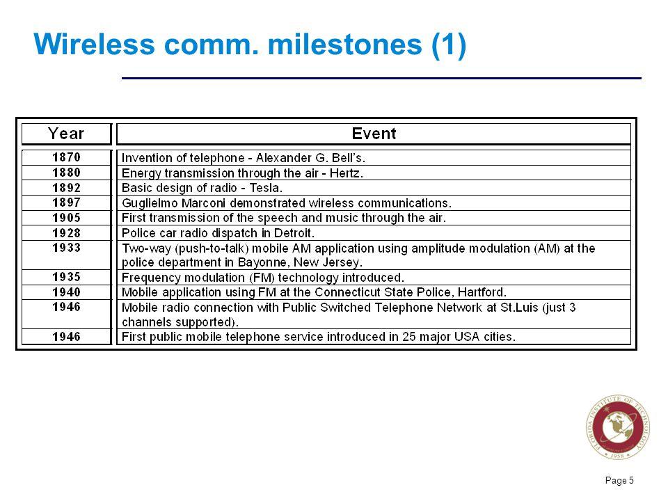 Florida Institute of technologies Wireless comm. milestones (2) Page 6