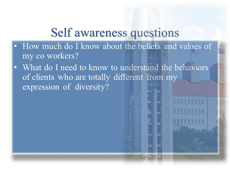 Self awareness questions How much do I know about the beliefs and values of my co workers? What do I need to know to understand the behaviors of clien