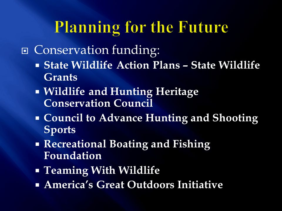 Conservation funding:  State Wildlife Action Plans – State Wildlife Grants  Wildlife and Hunting Heritage Conservation Council  Council to Advance Hunting and Shooting Sports  Recreational Boating and Fishing Foundation  Teaming With Wildlife  America's Great Outdoors Initiative